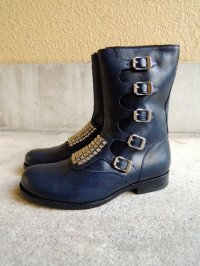 KIDIL x BROGA VIDAR Leather Studs Boots Navy Calf