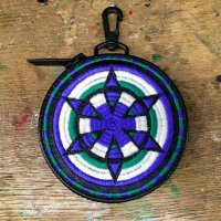 blackmeans × boys in the band別注 刺繍コインケース  black×purple×green