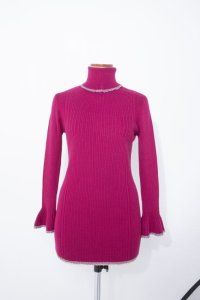 rurumu: 20AW mix rib turtleneck knit magenta